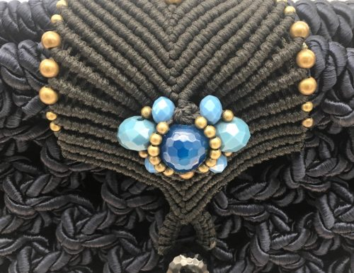 Bolso color azul marino colección Girona - Macramé - Marina Grafeuille