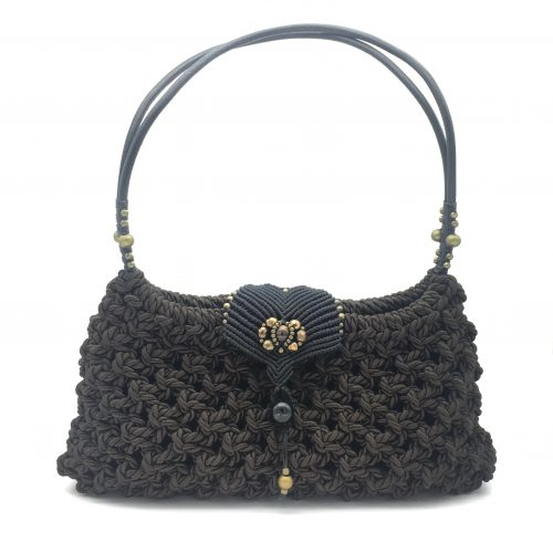 Bolso color marrón chocolate colección Girona - Macramé - Marina Grafeuille