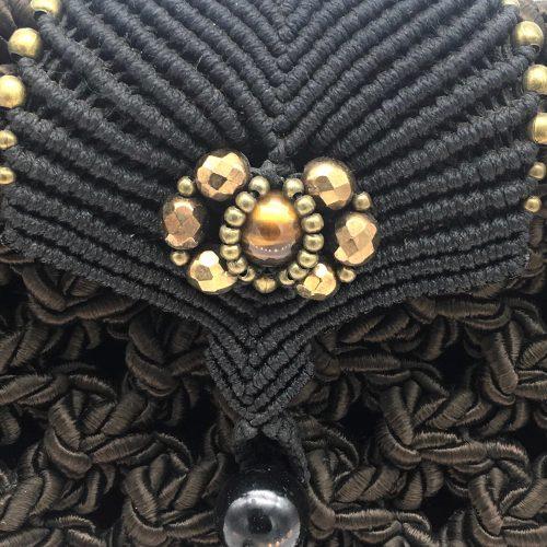 Detalle bolso color marrón chocolate colección Girona - Macramé - Marina Grafeuille