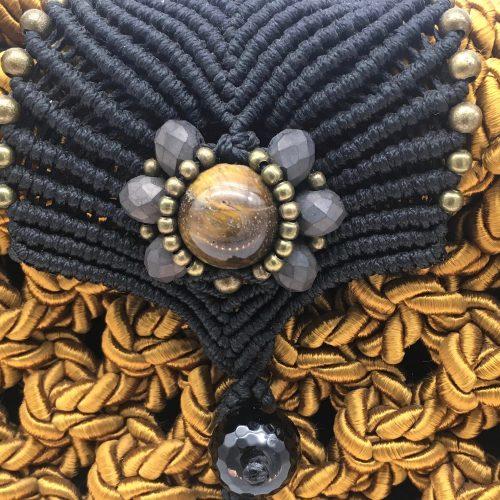 Detalle bolso color mostaza colección Girona - Macramé - Marina Grafeuille