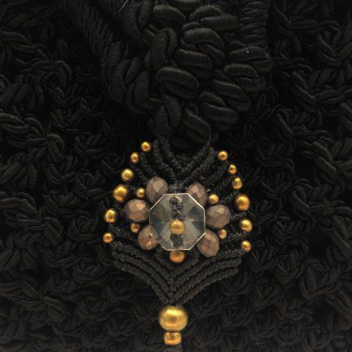 Detalle bolso color negro colección Girona - Macramé - Marina Grafeuille