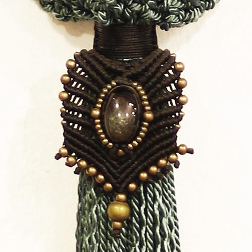 Detalle del bolso color Petróleo colección Cadaquez - Macramé - Marina Grafeuille