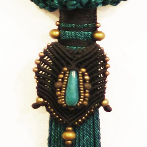 Detalle del bolso color Turquesa colección Cadaquez - Macramé - Marina Grafeuille