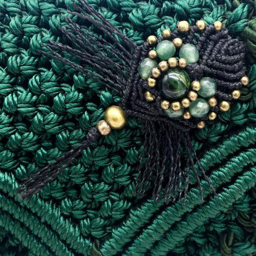 Detalle bolso color verde malaquita colección Girona - Macramé - Marina Grafeuille