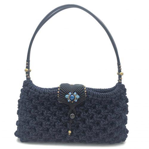 Detalle bolso color azul marino colección Girona - Macramé - Marina Grafeuille