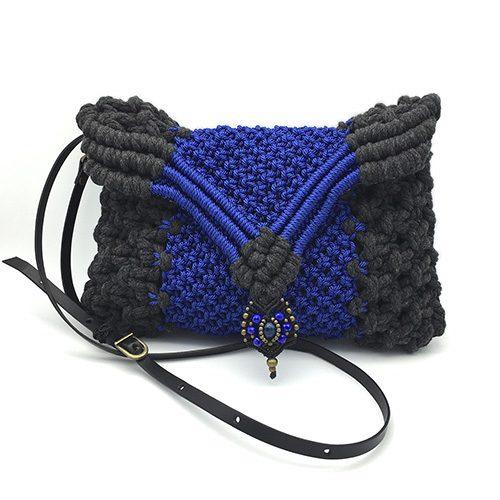 Bolso Banderola color azul francia colección Unique - Macramé - Marina Grafeuille