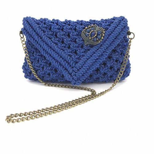 Bolso azul colección Almetlla - Macramé - Marina Grafeuille