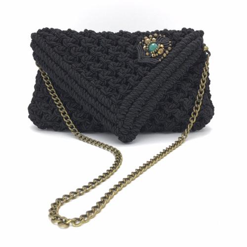 Bolso negro colección Almetlla - Macramé - Marina Grafeuille