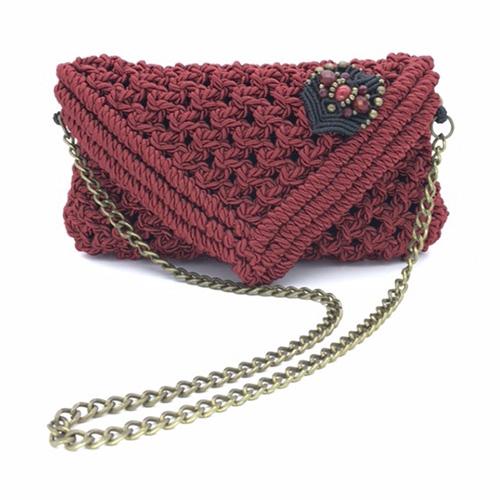 Bolso rojo colección Almetlla - Macramé - Marina Grafeuille