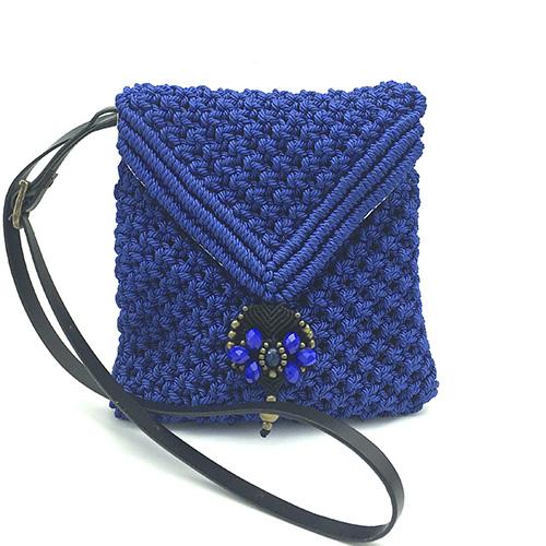 Bolso color azul colección Sitges - Macramé - Marina Grafeuille