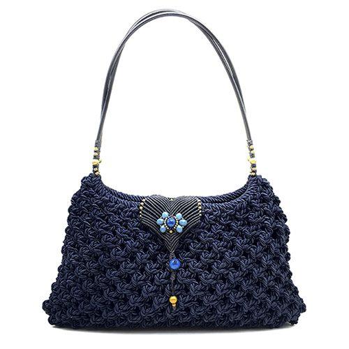 Bolso color azul marino colección Girona XL - Macramé - Marina Grafeuille