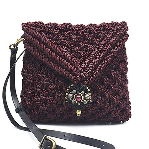 Bolso color Bordeaux colección Valls - Macramé - Marina Grafeuille