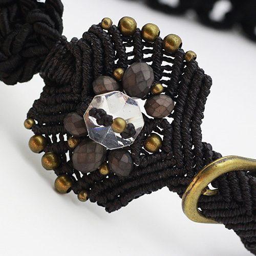Detalle cinturón negro colección Vich - Macramé - Marina Grafeuille