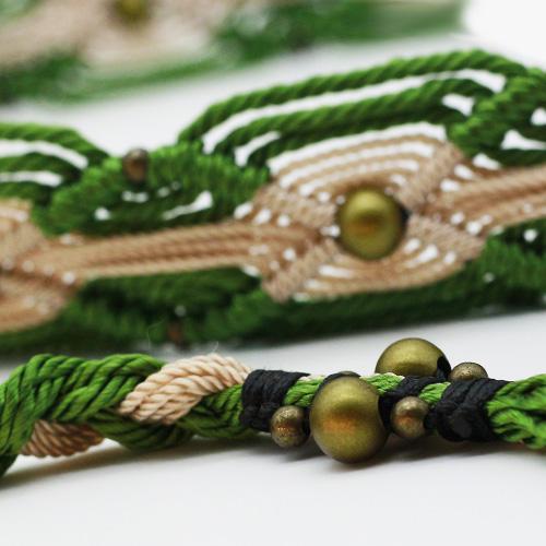Detalle cinturón verde colección Ibiza - Macramé - Marina Grafeuille
