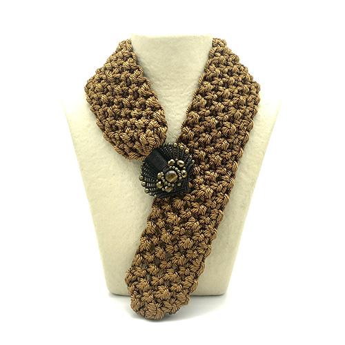 Collar color ocre colección Montblanc - Macramé - Marina Grafeuille