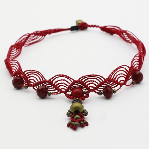 Collar color rojo colección Salo - Macramé - Marina Grafeuille