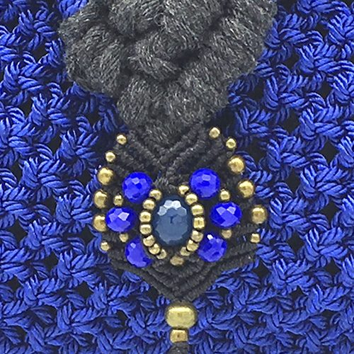 Detalle Bolso Banderola color azul francia colección Unique - Macramé - Marina Grafeuille