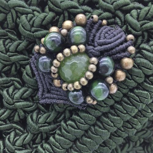 Detalle bolso verde malaquita colección Almetlla - Macramé - Marina Grafeuille