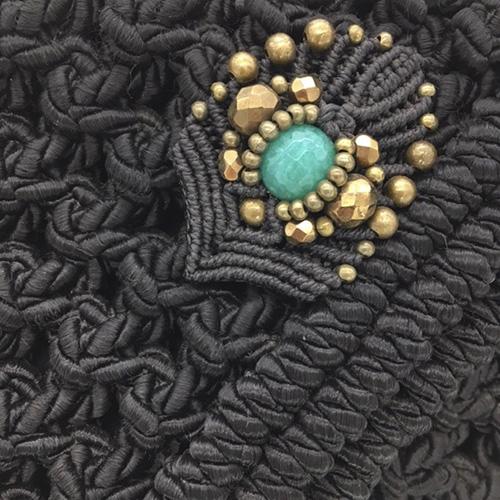 Detalle bolso negro colección Almetlla - Macramé - Marina Grafeuille
