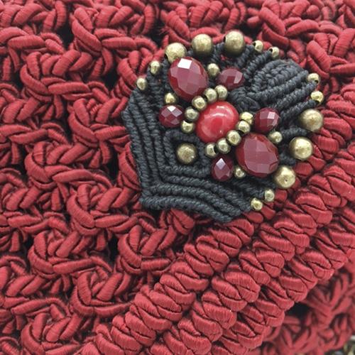 Detalle bolso rojo colección Almetlla - Macramé - Marina Grafeuille