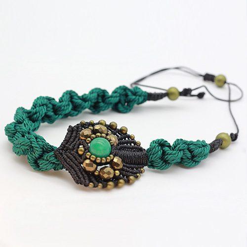 Detalle collar turquesa colección Avinyo - Macramé - Marina Grafeuille