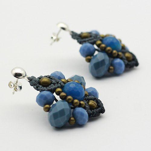 Detalles pendientes color azul colección Ciudadela - Macramé - Marina Grafeuille