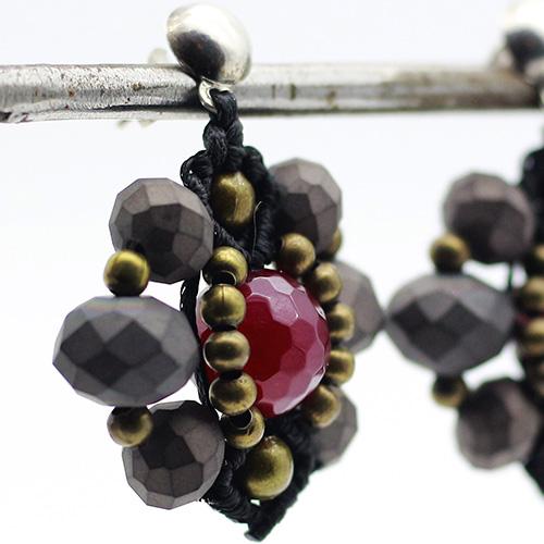 Pendientes color negro colección Ciudadella - Macramé - Marina Grafeuille