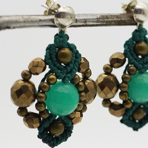 Pendientes color turquesa colección Ciudadela - Macramé - Marina Grafeuille