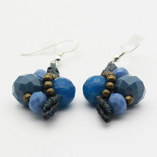 Pendientes color azul marino colección Mahón - Macramé - Marina Grafeuille