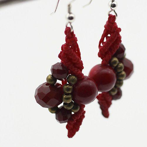 Pendientes color rojo colección Mahón - Macramé - Marina Grafeuille