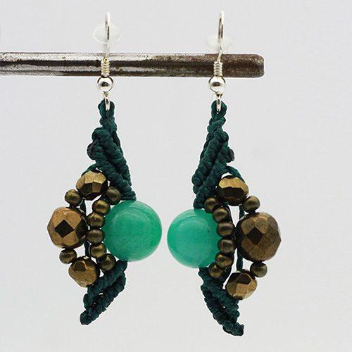 Pendientes color turquesa colección Mahón - Macramé - Marina Grafeuille