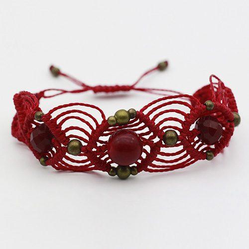 Pulsera color rojo colección Barcelona - Macramé - Marina Grafeuille