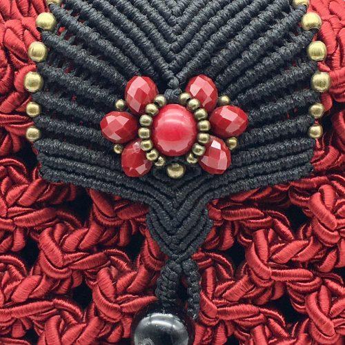 Bolso color rojo colección Girona - Macramé - Marina Grafeuille