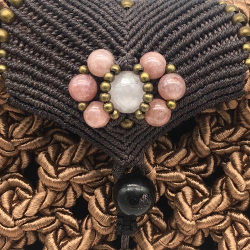 Detalle bolso color rosa Blush colección Girona - Macramé - Marina Grafeuille