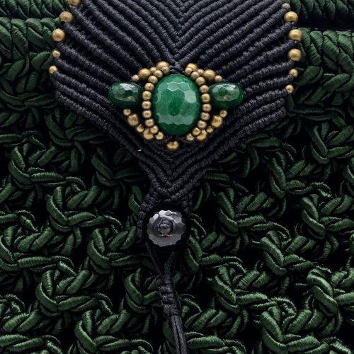 Detalle bolso color verde colección Girona XL - Macramé - Marina Grafeuille