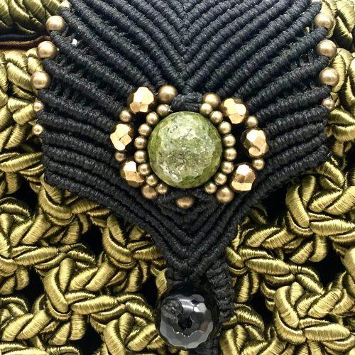 Detalle bolso color verde oliva colección Girona - Macramé - Marina Grafeuille