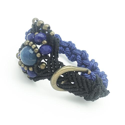 Pulsera color azul colección Roses - Macramé - Marina Grafeuille