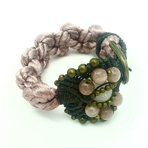 Pulsera color rosa colección Roses - Macramé - Marina Grafeuille