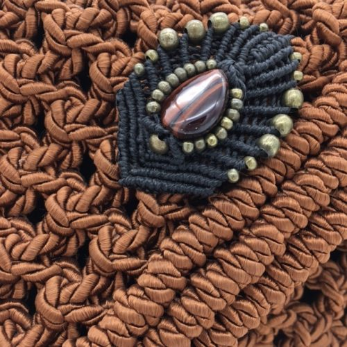 Detalle bolso color cobre colección Almetlla - Macramé - Marina Grafeuille