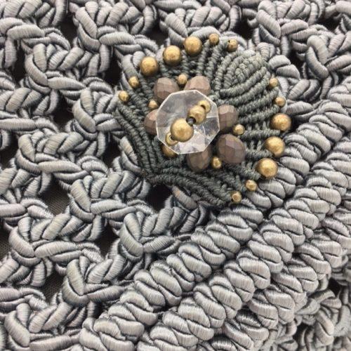 Bolso color gris colección Almetlla - Macramé - Marina Grafeuille
