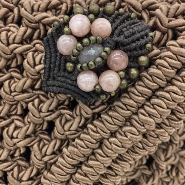 Detalle Bolso color rosa blush colección Almetlla - Macramé - Marina Grafeuille