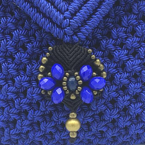 Detalle bolso color azul colección Sitges - Macramé - Marina Grafeuille