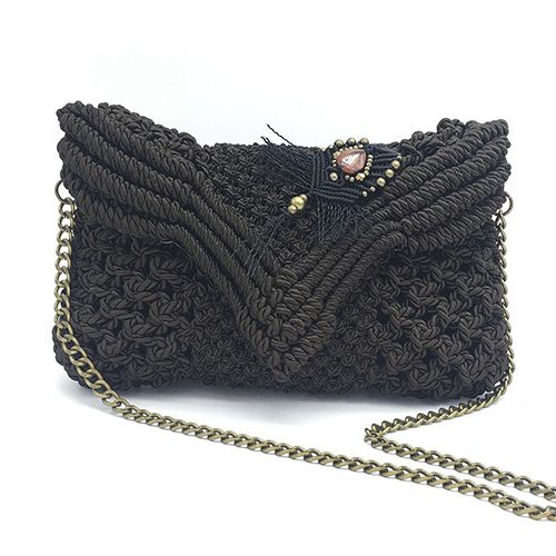 Bolso color marrón chocolate colección Begur - Macrame - Marina Grafeuille