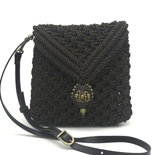Bolso color marrón chocolate colección Valls - Macramé - Marina Grafeuille
