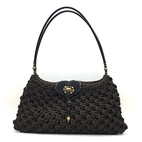 Bolso color marrón chocolate colección Girona XL - Macramé - Marina Grafeuille