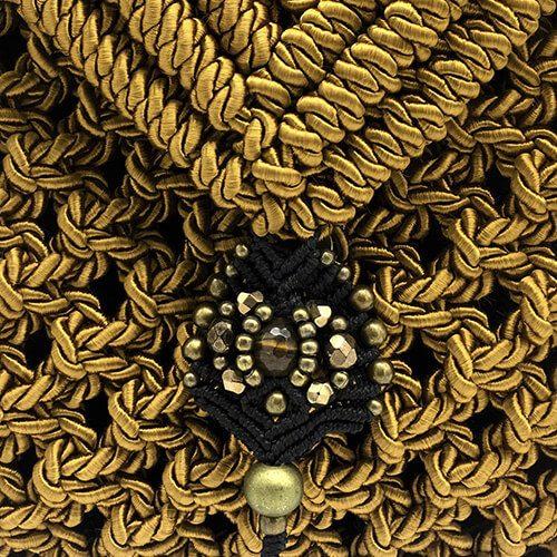 Detalle bolso color mostaza colección Valls - Macramé - Marina Grafeuille