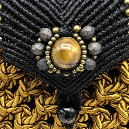 Detalle bolso color mostaza colección Girona XL - Macramé - Marina Grafeuille