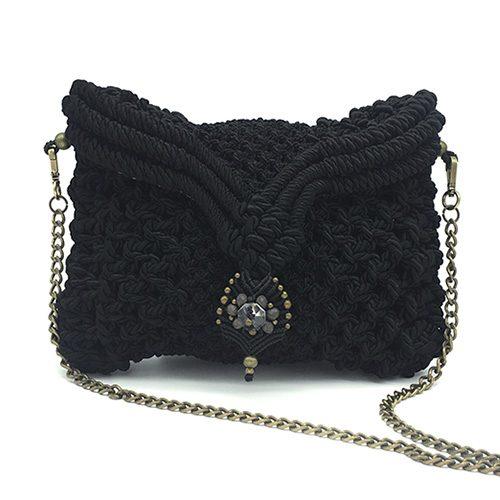 Bolso color negro colección Begur - Macrame - Marina Grafeuille