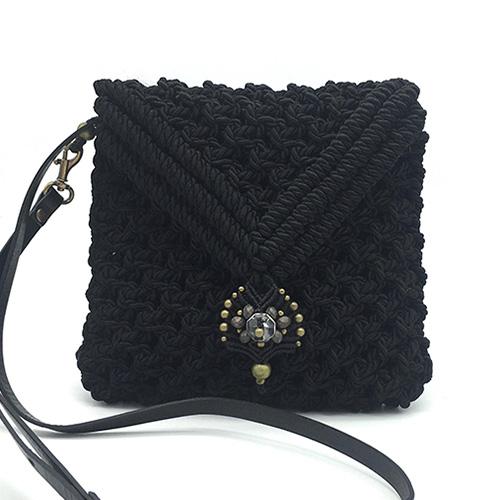 Bolso color negro colección Valls - Macramé - Marina Grafeuille