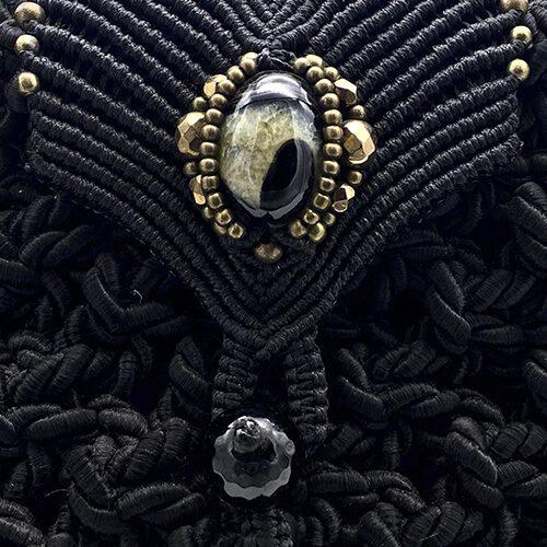 Detalle bolso negro colección Girona XL - Macramé - Marina Grafeuille
